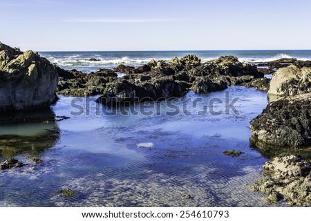 tidal pools along the big sur coast, near cambria, ca.  - stock photo