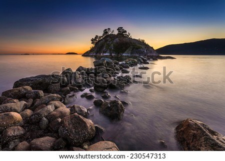 Tide rising at Dusk in Whytecliff Park, Vancouver, British Columbia, Canada - stock photo
