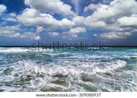 tide sea summer nature landscape - stock photo