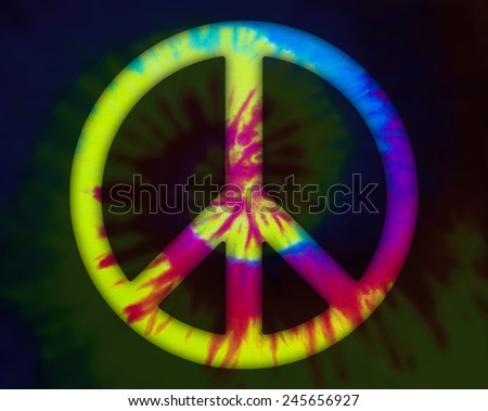 Tie dye cropped with an peace symbol path - stock photo