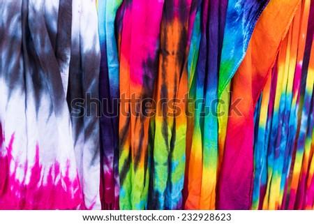 Tie Dye Scarves Colors - stock photo