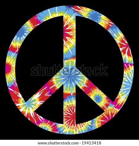 Tie Dyed Peace Symbol - stock photo