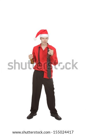 Tie undone, shirt untucked and holding two beer bottles, this office worker demonstrates unprofessional behavior at the office  Christmas party! Isolated on white. - stock photo