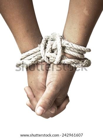 Tied hands. - stock photo