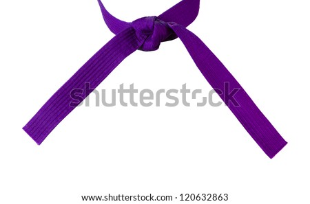 Tied Karate purple belt closeup isolated on white background - stock photo