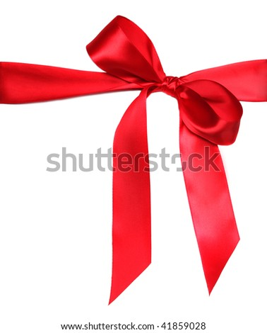 Tied Red Holiday Anniversary Ribbon Bow on White Background - stock photo