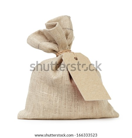 tied sack bag with paper tag, isolated on white - stock photo