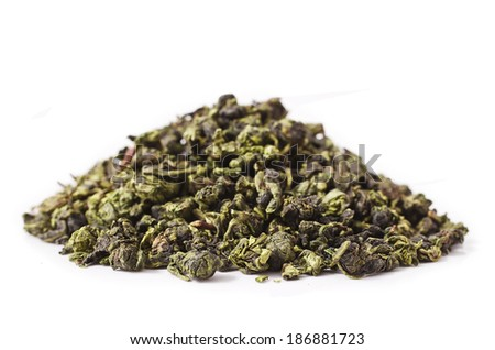 Tieguanyin Tea leaves, Chinese famous oolong tea on white background  - stock photo