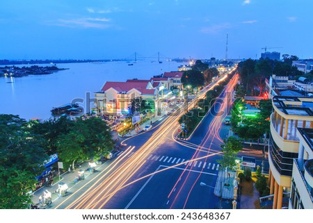 TIEN GIANG, VIETNAM - OCTOBER 12, 2014: Landscape along the waterfront in Tien Giang province on October 12, 2014 - stock photo