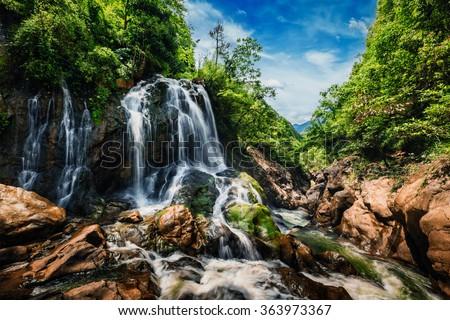 Tien Sa waterfal near Cat Cat Village near (Sapa) Sa Pa, Vietnam - popular tourist trekking destination - stock photo