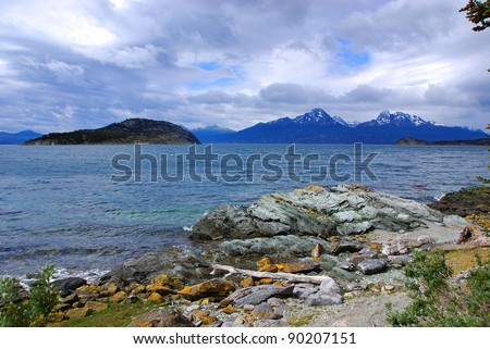 Tierra del Fuego National Park is a national park on the Argentine part of the island of Tierra del Fuego  in the ecoregion of Patagonic Forest and Altos Andes, a part of the subantarctic forest - stock photo