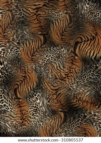 tiger and leopard skin seamless background - stock photo