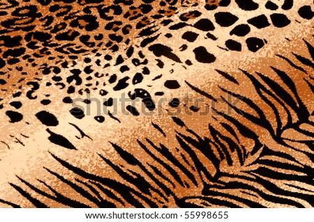Tiger Cheetah Print Rug Background - stock photo