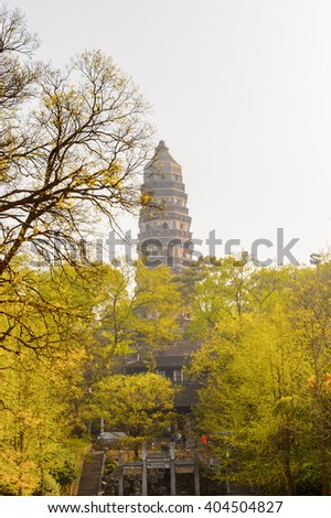 Tiger Hill Pagoda (Yunyan Pagoda) on the Tiger Hill in Suzhou city, Jiangsu Province of Eastern China. - stock photo