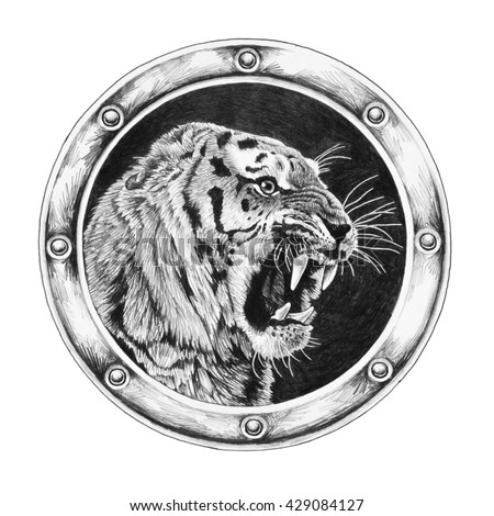 Tiger in round frame isolated on white background - stock photo
