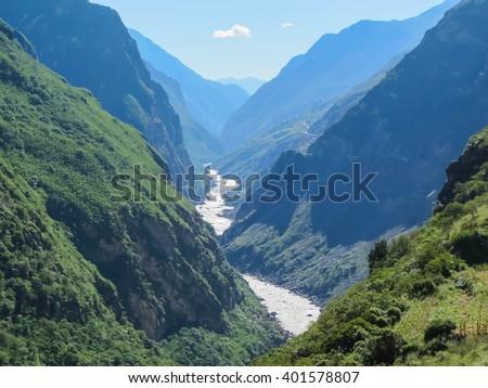 Tiger Leaping Gorge, Lijiang City, Yunnan Province, China. - stock photo