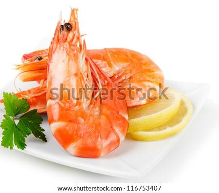 tiger shrimps isolated on white - stock photo