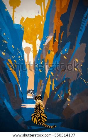 tiger stalking in narrow rock wall,illustration digital painting - stock photo