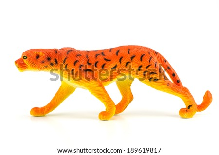 Tiger toy isolated on white - stock photo