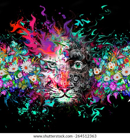 Tiger with paint splashes - stock photo