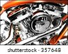 Tight side view of motorbike engine - stock photo