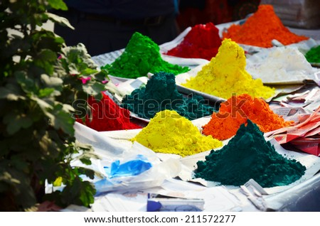Tika Color powder for Tihar Deepawali festival and Holi Festival location in Patan Durbar Square is situated at the centre of Lalitpur Sub-Metropolitan City in Nepal. - stock photo
