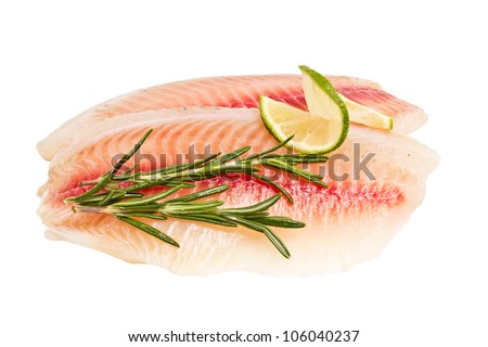tilapia fillet with a slice of lemon and rosemary isolated on white background - stock photo