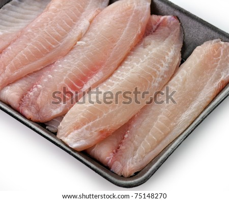 tilapia fillets in a package , close up shot - stock photo