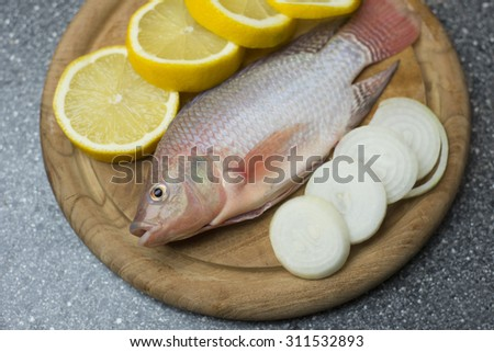 Tilapia Fish with lemon and onion ingredients - stock photo
