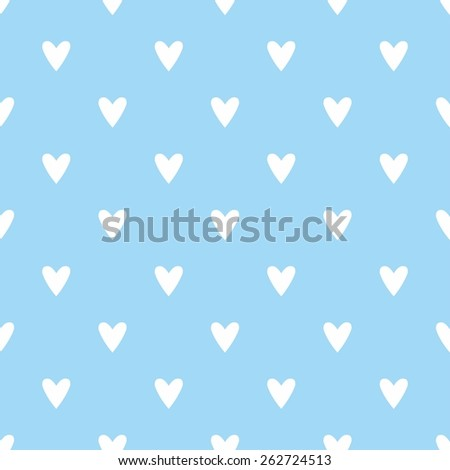 Tile cute pattern with hand drawn white hearts on blue background - stock photo