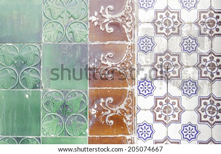 Tile exterior wall of building in Lisbon - stock photo