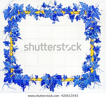 tile plaque in wall at Portugal - stock photo