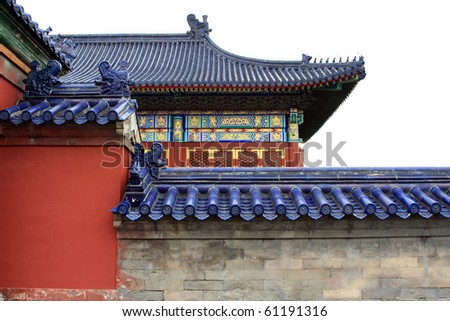 Tile wall from the Temple of Heaven in Beijing China - stock photo