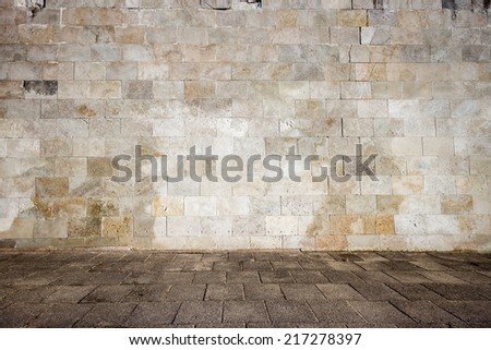 Tiled wall with a old blank stone bricks - stock photo