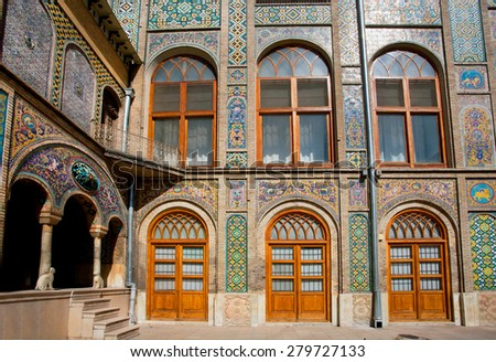 Tiled walls with Persian patterns of the royal palace Golestan in Tehran, Iran. Golestan Palace is the oldest groups of buildings in persian capital, was rebuilt to its current form in 1865 - stock photo