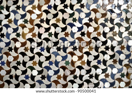 tiles decorating a wall of the Alhambra - stock photo