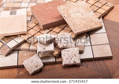 Tiles for floors and walls made of ceramic, stone, marble and mosaic compositions - stock photo