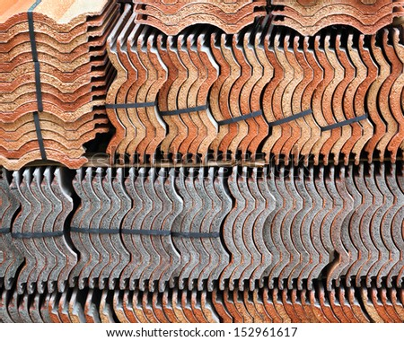 tiles of roof.Red tiles roof background. - stock photo