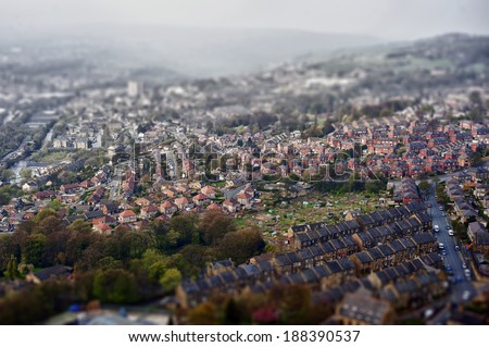 Tilt and shift technique used in landscape photo. - stock photo