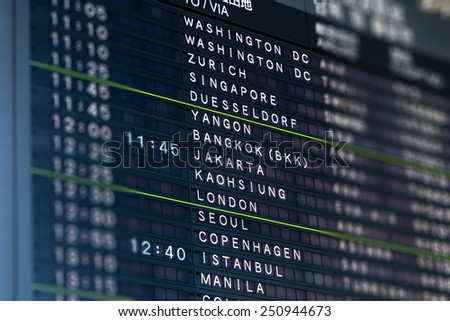 Tilt-shift lens effect on airport flight information board with focus on major destination cities. - stock photo