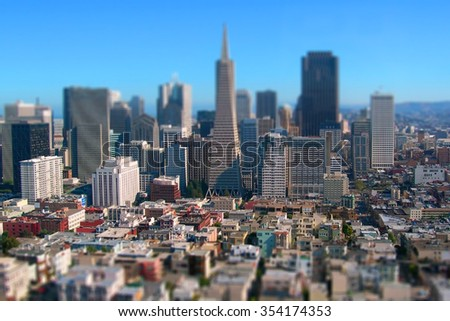 Tilt shift miniature city of San Francisco California USA - stock photo