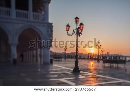 Tilt shift photo of morning in San Marco square in Venice - stock photo