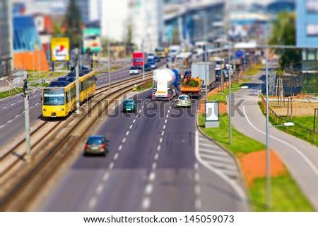 Tilt shift street - stock photo