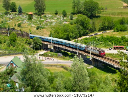 Tilt-shift train - stock photo