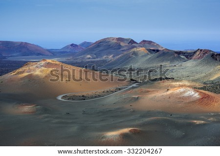 Timanfaya volcanic parc - stock photo