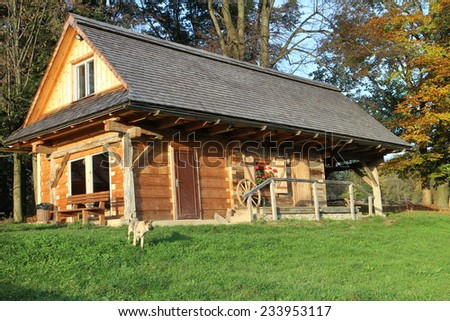Timber hut in Beskydy mountains in Czech republic - stock photo