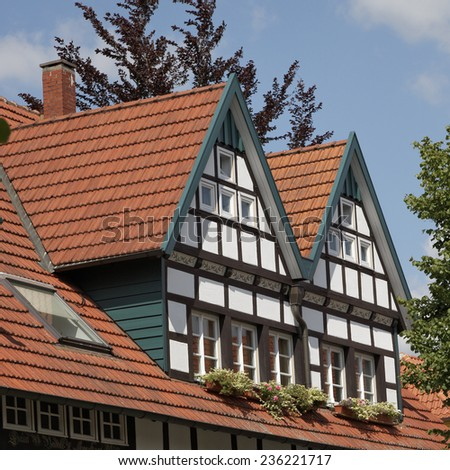 Timbered house in Schledehausen, Lower Saxony, Osnabrueck country, Lower Saxony, Germany, Europe - stock photo