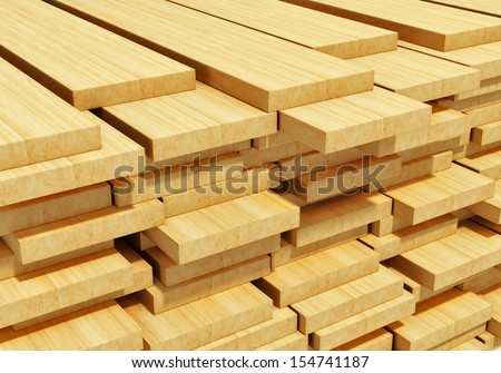 Timberwork, lumber work and woodwork industry concept: macro view of stacks of wooden timber planks - stock photo