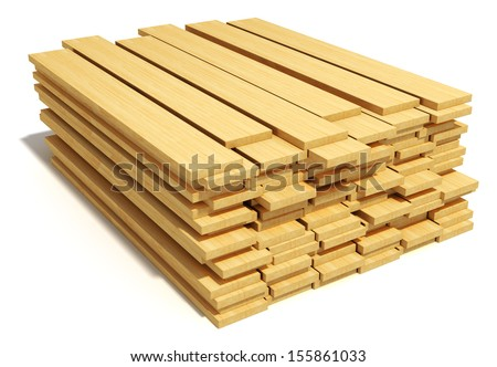 Timberwork, lumber work and woodwork industry concept: stacks of wooden timber planks isolated on white background - stock photo