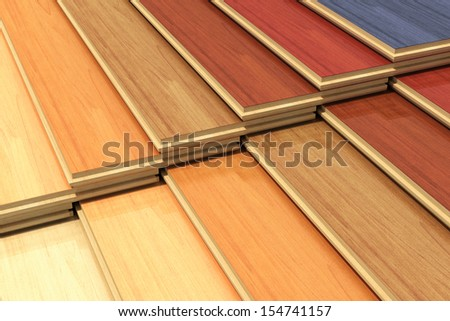 Timberwork, lumber work, woodwork industry, home renovation and house restoration concept: set of color wooden laminated construction planks isolated on white background - stock photo